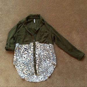 Free People mixed media button up, XS